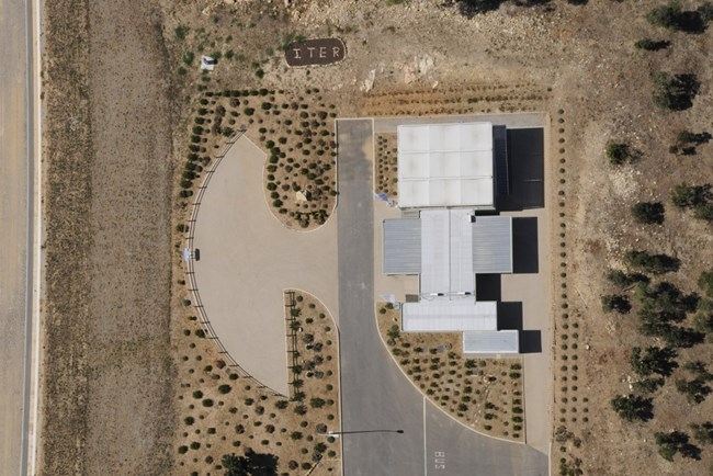 The Visitors Centre on the ITER site seen from above. Photo courtesy: Agence Iter France.