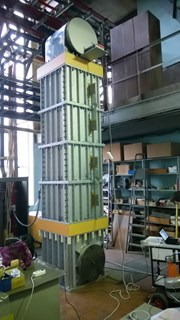 Fast discharge resistors are made as a set of sections consisting of a resistive element enclosed in a steel casing. A 4.5-metre-tall prototype resistor was successfully tested in Russia in December. (Click to view larger version...)