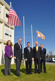 A salute to the flags. From left to right: US Consul General in Marseille Diane Kelly, newly appointed DDG and Director of the ITER Administration Department Richard Hawryluk, Ambassador Rivkin, ITER DG Osamu Motojima and Head of ODG Takayuki Shirao. (Click to view larger version...)
