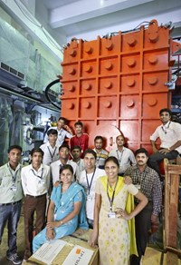 A dedicated assembly group have participated with infectious enthusiasm in the assembly and integration of the injector. (Click to view larger version...)