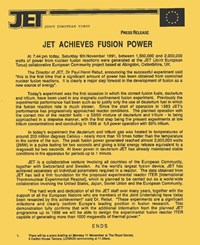 The historical November 1991 press release. JET director Paul-Henri Rebut was quoted as saying: ''This demonstration fully confirms that [...] we will be able to design the experimental fusion reactor ITER.'' (Click to view larger version...)