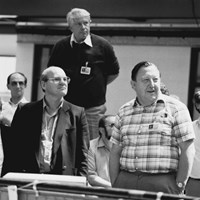 Paul-Henri Rebut and Hans-Otto Wünster, JET's first director on 25 June 1983, the day of ''First Plasma.'' © EFDA (Click to view larger version...)