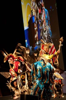 Conference kickoff began with a Native American blessing and dance. The blessing was to celebrate the work of fusion researchers to learn from the wisdom of the Earth and the Universe in harnessing natural energy to create a clean energy supply. (Click to view larger version...)