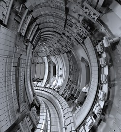 The inner wall of the European tokamak JET has been fitted with new beryllium and tungsten tiles—the same material that will be used for ITER's plasma-facing elements. © EFDA (Click to view larger version...)