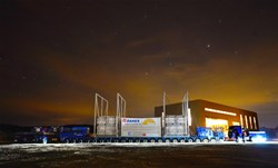 As billions of fusion furnaces glittered in the pre-dawn light, the second test convoy came to a halt on the ITER site near the Poloidal Field Coils building ... (Click to view larger version...)