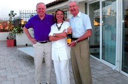 Sharing a joyful moment: Rem Haange (left) with Roberta and Pier Luigi Mondino. (Click to view larger version...)
