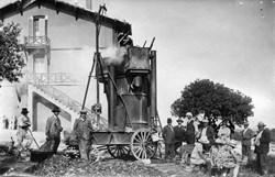 This steam machine (circa 1930), operating at the ''Maison Forestière,'' right across the road from the future Headquarters building, was probably used to produce motor engine fuel from charcoal. (Click to view larger version...)