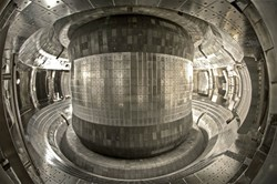 The EAST tokamak has been extensively upgraded during its recent shutdown. The picture shows the first wall of the machine, whose tiles were changed from graphite to molybdenum at the beginning of this year. (Click to view larger version...)