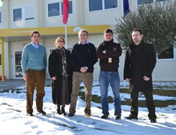 ...while on the other side of the globe, the members of ITER's Cryogenic System Section brave the recent cold spell: Luigi Serio (left), head of the Plant Engineering Division, with Mihaela Francois-Rada, Michel Chalifour, Adrien Forgeas and Nicolas Navion-Maillot. (Click to view larger version...)