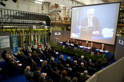 Monday's ceremony was held in the experimental hall of the Consorzio-RFX fusion experiment. (Click to view larger version...)