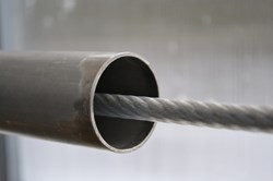 This photo shows the lead wire used to insert the cable into the jacket assembly. (Click to view larger version...)
