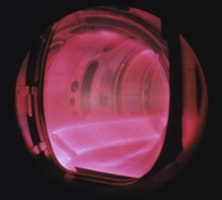 A plasma in TEXTOR (Tokamak Experiment for Technology Oriented Research) operating at Forschungszentrum Jülich, Germany. (Click to view larger version...)