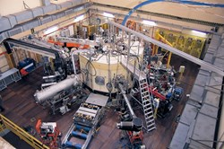 The Frascati Tokamak Upgrade (FTU) machine seen from above. (Click to view larger version...)