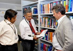 Saroj Das, ITER librarian; Dhiraj Bora, chairman of the Publication Board and DDG director of CODAC, Heating & Diagnostics; and Daniele Parravicini, DOC section leader, are charged with ensuring that—before publication—written material follows the proper approval channels. (Click to view larger version...)
