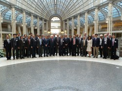 The participants to the tenth ITER Council meeting lined up in the impressive Ronald Reagan Building. (Click to view larger version...)