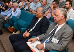 In a very moving address, ITER Council Vice Chair Edmund Synakowski (right) told the assembled staff that they were ''at the ground floor of something truly historic''. (Click to view larger version...)