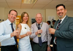 ... followed by a glass of champagne and a toast from Chairman Rem Haange, ITER Deputy Director-General (here with Mark Robinson, Krystyna Marcinkiewicz and Nenne Jakvik). (Click to view larger version...)