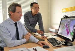 ITER Remote Handling Section Leader, Alessandro Tesini, and Technical Responsible Officer (neutral beam remote handling) Chang Hwan: '' It is essential that component designers and remote handling engineers enter a structured dialogue as early as possible in the process of a component's design.'' (Click to view larger version...)