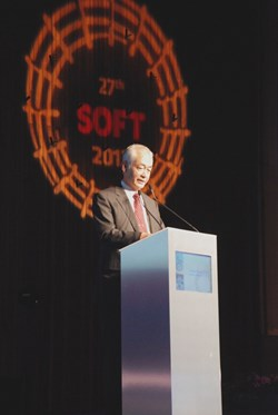 ITER Director-General Osamu Motojima during his keynote lecture presenting the status of the ITER project. (Click to view larger version...)