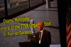 ITER Director-General Motojima gave the overview talk in the opening scientific session on Monday 8 October and ITER played centre stage throughout the conference, with more than 20 members of staff present providing as many scientific papers and posters (the ITER Domestic Agencies, for their part, contributed 54 papers to the conference). © Charles Lasnier (Click to view larger version...)