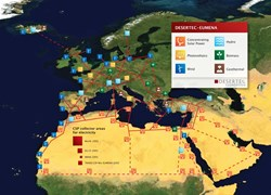 This is the idea: the EU-MENA Supergrid. Souce: Desertec (Click to view larger version...)