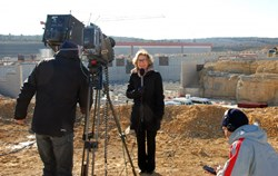 Despite a sore throat that made her voice hoarse, French Minister Fioraso gave a live interview to regional TV with the Seismic Pit as a backdrop. (Click to view larger version...)