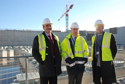 Juan Thomás Hernani, ITER Deputy Director-General Carlos Alejaldre and Matti Tiirakari, Director for Administration at ESS, looking at the ITER landscape. (Click to view larger version...)