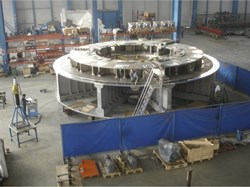 Pre-assembly of the 250-tonne cryostat base for JT-60SA in Aviles, Spain. (Click to view larger version...)