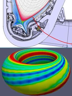ITER pellet injection geometry (top) and modelled plasma pressure perturbation (bottom) caused by the injection of a pellet in ITER with the JOREK code leading to the controlled triggering of ELMs. [S. Futatani, IAEA Conference 2012] (Click to view larger version...)