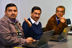 Shishir Deshpande (centre) head of ITER India, with colleagues Anil Bhardwaj (left) and Indranil Bandyopadhyay. (Click to view larger version...)