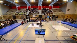 The second annual ITER Robots challenge was hosted in the gymnasium of the Lycée des Iscles, in Manosque. Over 200 students came by bus from near and far with one idea in mind after months of work ... victory! (Click to view larger version...)