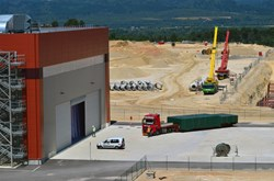 ... and delivered six hours later to the door of the PF Winding Facility on the ITER site. (Click to view larger version...)
