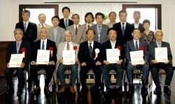 The newly distinguished honorary professors of the first university in Japan and throughout the world to offer exclusively doctorate-level training. (Click to view larger version...)