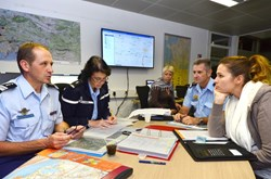 From left to right: Colonel Geneau, Major Monglat (gendarmerie), Annick Bocchiardo (Iter France), Captain Mounier (gendarmerie) and Joana Amiand (Préfecture). (Click to view larger version...)