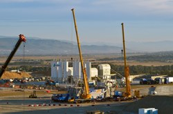 The day dawns over the ITER site in Saint-Paul-lez-Durance on 20 September 2013. The ITER test convoy arrived successfully after a four-night journey from the Mediterranean Sea. (Click to view larger version...)