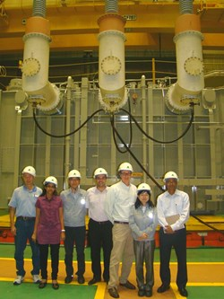 Participants included (from left): Paul Russman, consultant to PPPL; Supriya Nair, ITER Technical Responsible Officer; Jin Ho Kang, manager, HHI; Joel Hourtoule, ITER Electric Power Distribution Section head; Charles Neumeyer, PPPL, US ITER Technical Responsible Officer; So Young Lee, manager, HHI; and Ajoy Das, URS Corporation. Not pictured: Jong-Seok Oh, ITER Korea power supply technology team leader. (Click to view larger version...)