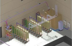 The acceleration grid power supplies for SPIDER and the diagnostic neutral beam are similar with respect to their technical specifications and intricacies. Pictured: a 3D view of the acceleration grid power supply hall. (Click to view larger version...)