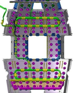 The integration of the ITER in-vessel coils, with all their turns, bends and bumps, present specific challenges in the crowded environment of the vacuum vessel. (Click to view larger version...)