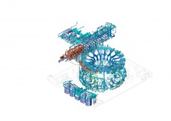 The Tokamak Cooling Water System includes major components such as pressurizers, heat exchangers, pumps, tanks and drying equipment, plus 33 kilometres of piping. (Click to view larger version...)