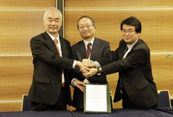 Left to right: Director-General Motojima, Kani Fujiki and Eisuke Tada, head of the Japanese Domestic Agency. (Click to view larger version...)