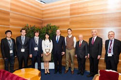 Last December in Monaco, in the presence of IAEA Director General Yukiya Amano and ITER Director General Osamu Motojima, HSH Prince Albert II met with the 2013-2014 Monaco fellows. From left to right: Ma Yunxing (China), Germàn Pérez (EU), Pavel Aleynikov (Russia), Liu Feng (China), Martin Kocan (EU) and ITER David Campbell, coordinator of the Monaco Postdoctoral Fellowship Program. (Click to view larger version...)