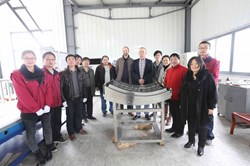 A three-member team from IPP headed by Helmut Fuenfgelder (sixth from right), visited China late February to examine and accept the second antenna. (Click to view larger version...)