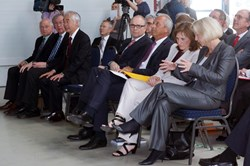 In the audience (from left to right, front row): Prof. A. Smith, PPPL, USA; Dr. Richard Hawryluk, PPPL, USA; Prof. Osamu Motojima, Director-General, ITER Organization; Erwin Sellering, Prime Minister of Mecklenburg-Western Pomerania; Prof. Dr. Peter Gruss, President of the Max Planck Society; Prof. Dr. Sibylle Günter, Scientific Director of IPP; Prof. Dr. Johanna Wanka, Federal Minister of Education and Research. Also present (not pictured), the former Technical Director of Wendelstein 7-X, Rem Haange, currently head of the ITER Project Department. (Click to view larger version...)
