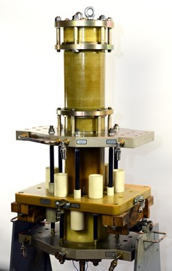At the Efremov Institute in Saint Petersburg, Russia, a prototype of the pirobreaker has been manufactured and tested for ITER. The pirobreaker acts as a backup circuit breaker, using explosive charges to interrupt the current in the case of main circuit breaker failure. (Click to view larger version...)