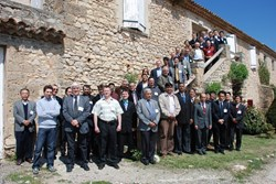 A smile for fusion history: the group posing in front of the Chateau de Cadarache. (Click to view larger version...)