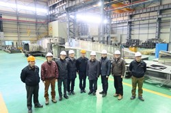 The team from ITER Korea stands in front of a 40° sector of the ITER thermal shield. The Director of the Korean Domestic Agency, Kijung Jung, is fourth from right. (Click to view larger version...)