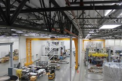The General Atomics work floor in Poway, California, during the installation of the central solenoid workstations in 2015. (Click to view larger version...)