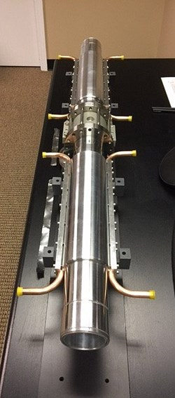 The electron cyclotron transmission lines feature multiple lines of aluminium waveguides (two small-scale prototypes are pictured). A new valve is under development with the aim of improving the confinement of the waveguide ''points of entry'' into the Tokamak Building and vacuum vessel. (Click to view larger version...)