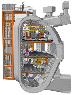 Four levels of aluminum staging inside the vacuum vessel will provide floor space of roughly 550 square metres. (Click to view larger version...)
