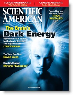 The March 2010 issue of ''Scientific American'' in which Michael Moyer's article was published. (Click to view larger version...)